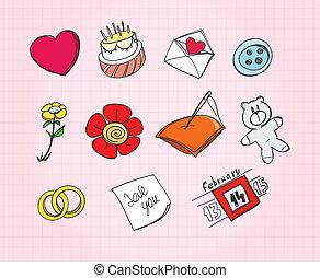 symboles, ensemble, amour, papier