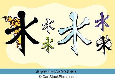 symboles, ensemble, divers, confucianisme