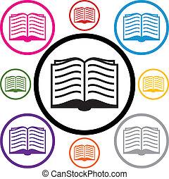 symboles, ensemble, livre, vecteur