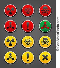 symboles, ensemble, sécurité, signe danger