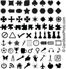symboles, formes, ensemble, divers