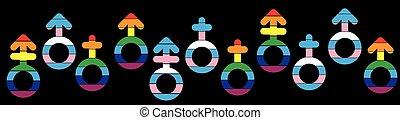 symboles, genre, bannière, lgb