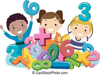 symboles, gosses, stickman, nombres, math