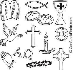 symboles, hand-drawn, chrétien, illustration