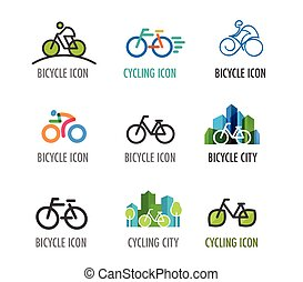 symboles, icônes, ensemble, vélo