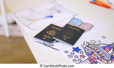 symboles, images, patriotique, deux, passeports, au-dessus, américain