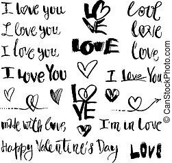symboles, lettrage, amour