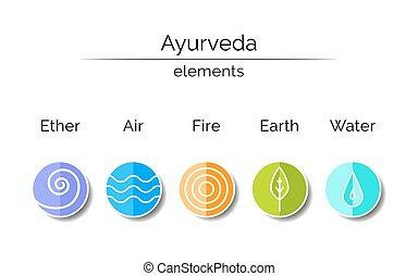 symboles, linéaire, ayurvedic, style.