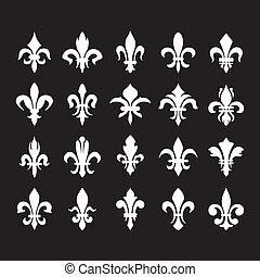symboles, lis), héraldique, de, (fleur
