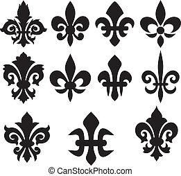 symboles, lis, héraldique, fleur, -