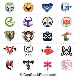 symboles, logos, ensemble