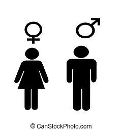 symboles, mâle, illus, femme
