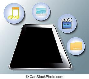symboles, média, illustration, tablette