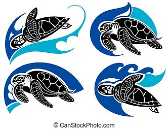 symboles, mer, .summer, tortue