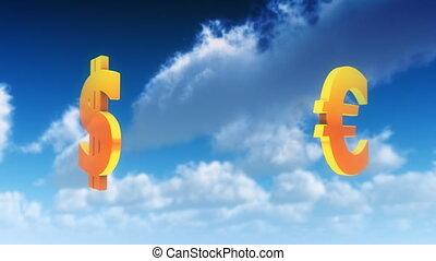 symboles, monnaie, nuages, (loop)