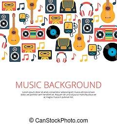 symboles, musique, retro, fond