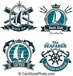 symboles, nautique, marin, retro