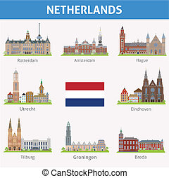 symboles, netherlands., villes