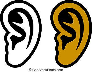 symboles, oreille, humain, vecteur