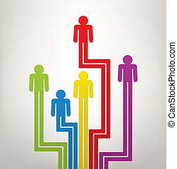 symboles, ou, coloré, gens, résumé, vecteur, direction, génération, concept