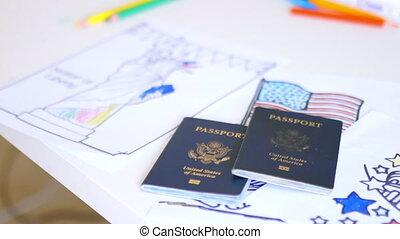 symboles, patriotique, pages, deux, passeports, coloration, au-dessus, américain