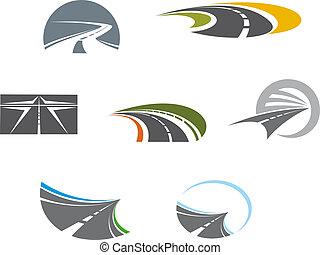 symboles, pictograms, route