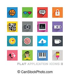 symboles, plat, conceptions, icône, &