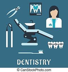 symboles, plat, dentiste, profession, icônes