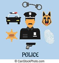 symboles, plat, police, profession, icônes
