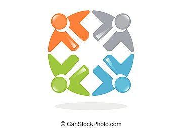 symboles, teamwo, connecté, gens