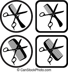 symboles, vecteur, coiffeur
