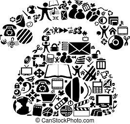 symboles, vecteur, téléphone