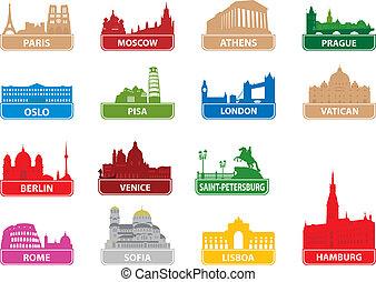 symboles, ville, européen