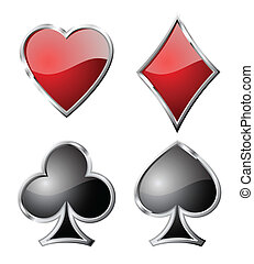 symbols., ensemble, jeu carte