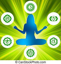 symbols., six, eps, chakras, spiritualité, 8