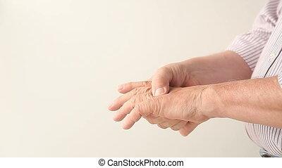 symptômes, arthrite, homme
