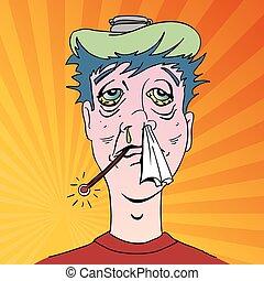 symptômes, grippe, terrible, homme