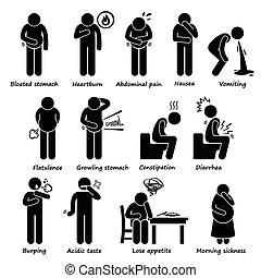 symptômes, indigestion, problème