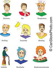 symptômes, maladies, icônes