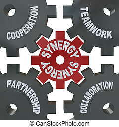 synergie, collaboration, -, engrenages, action
