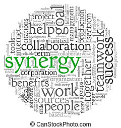 synergie, concept, mot, nuage, étiquette