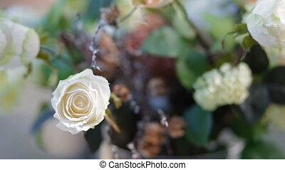 synthétique, bouquet, haut fin, fleurs