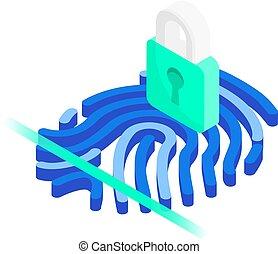 système, concept., fermé, scanner, ligne blanche, empreinte doigt, cadenas, fond, isométrique, isolé, identification