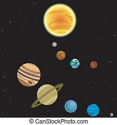 système, illustration, solaire