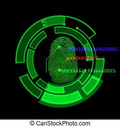 système, numérique, balayage, empreinte doigt, identification