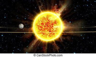 système, solaire, animation