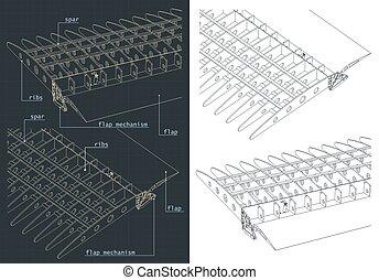 systèmes, aile, dessins, avion, structure, rabats