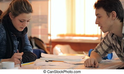 tâche, étudiants, deux, arrangements, architecture, utilisation, leçon, discuter