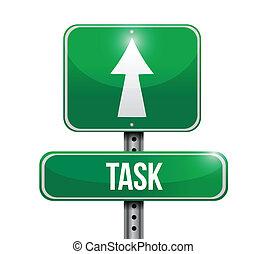 tâche, conception, route, illustration, signe