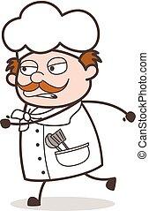 tâche, illustration, chef cuistot, courant, vecteur, dessin animé